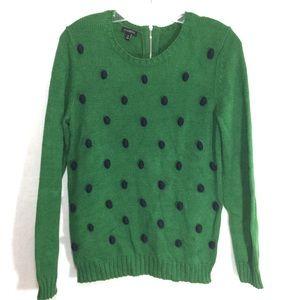 TALBOTS || polka dot green blue preppy sweater